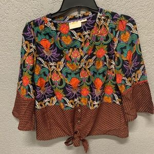 Anthropologie Maeve floral tie front top